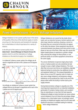 Power Quality Issues Voltage and phase balancing
