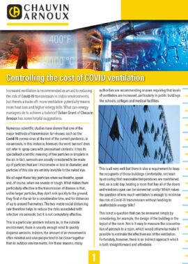 Controlling the cost of COVID ventilation