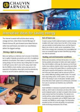 Innovative ideas for saving energy